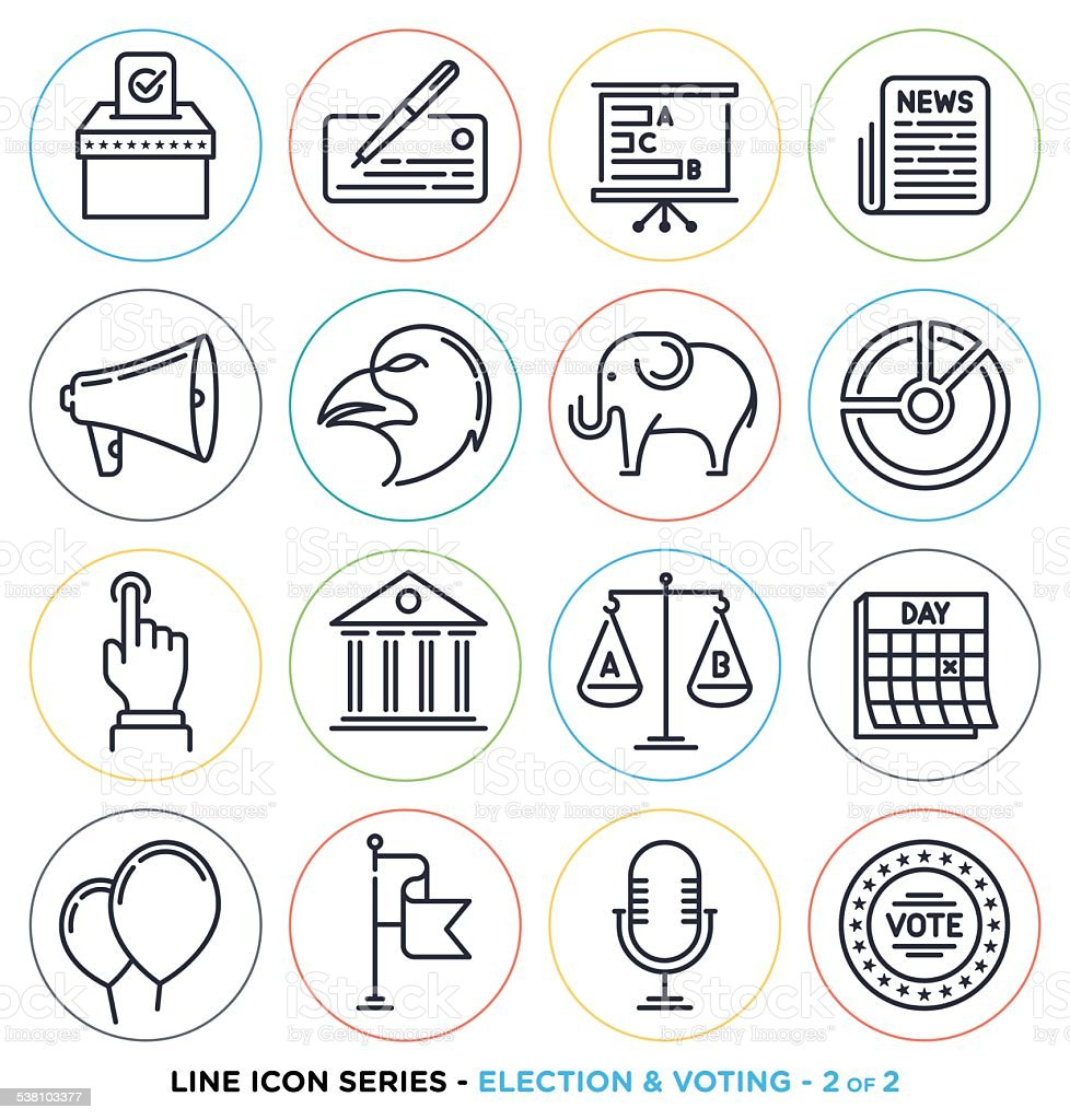 Election and voting line icons set vector art illustration