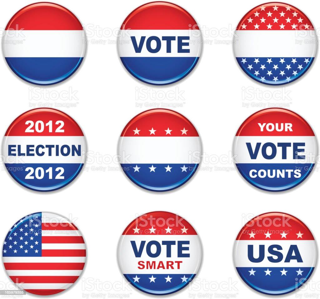 US election badge set vector art illustration