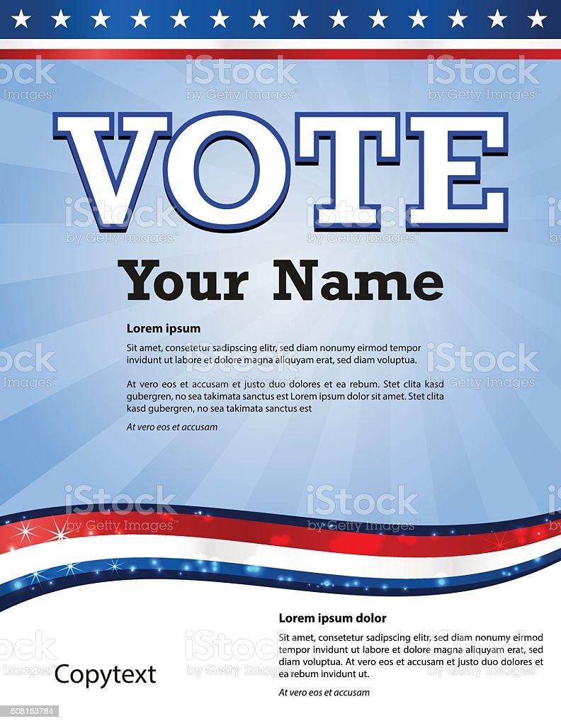 USA 2016 election copytext design template on light blue background vector art illustration