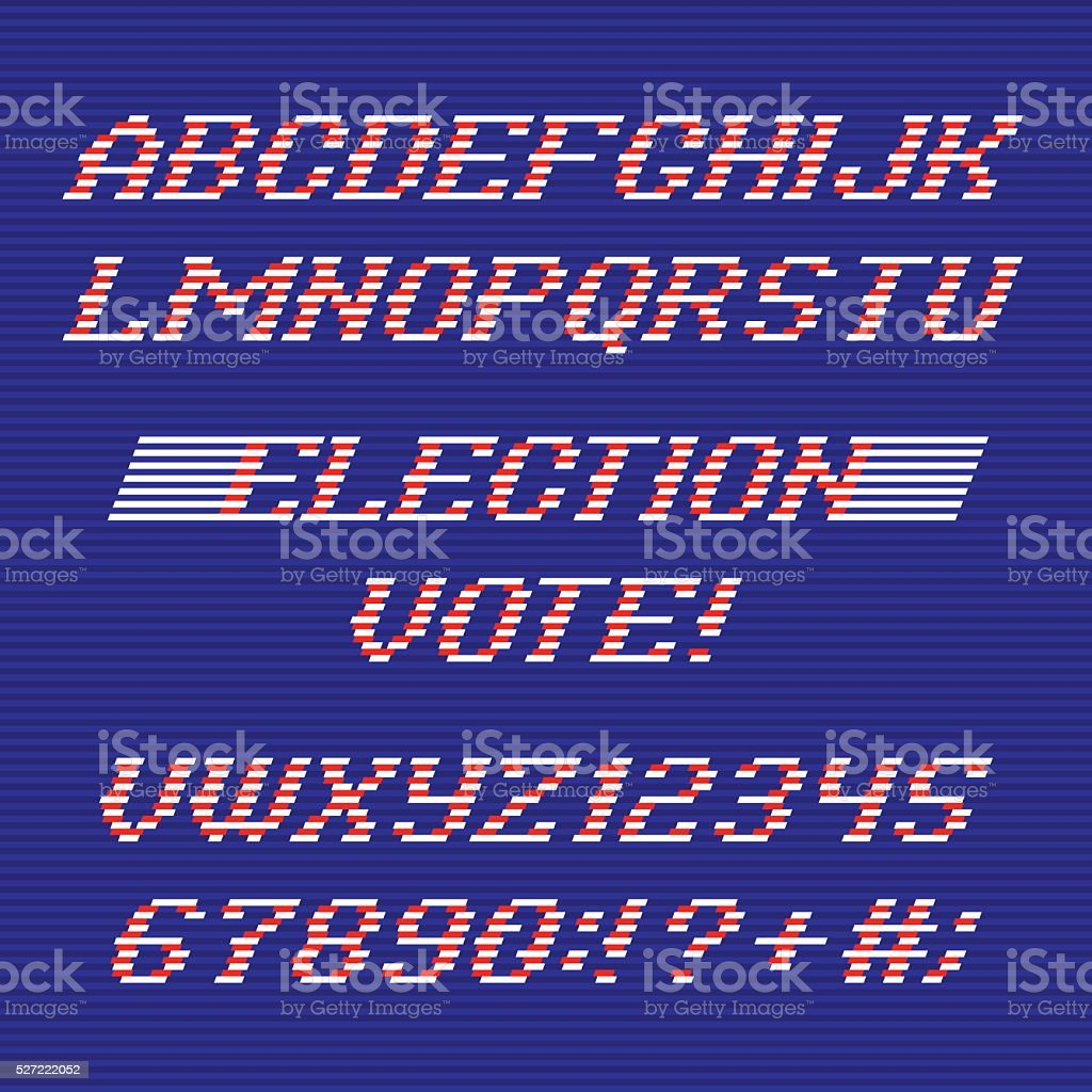 Election day font and numbers vector art illustration