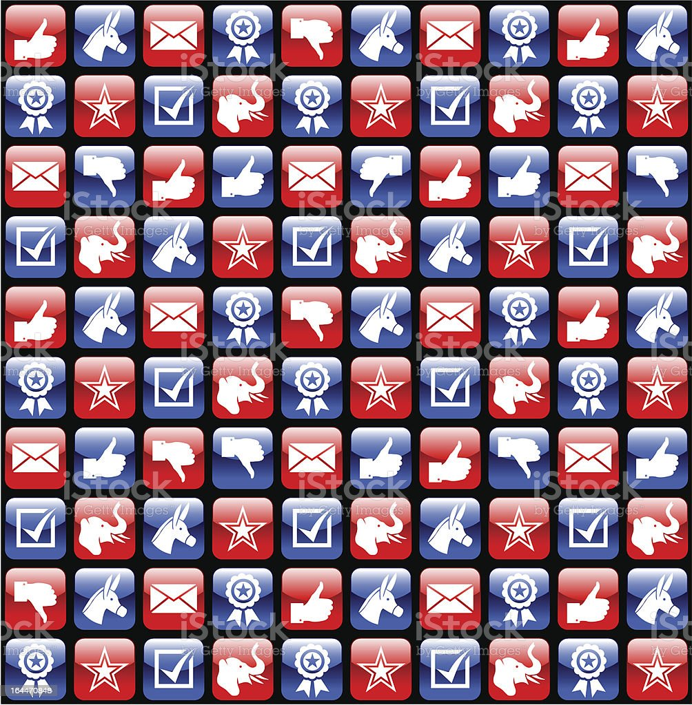 USA election glossy icons pattern royalty-free stock vector art