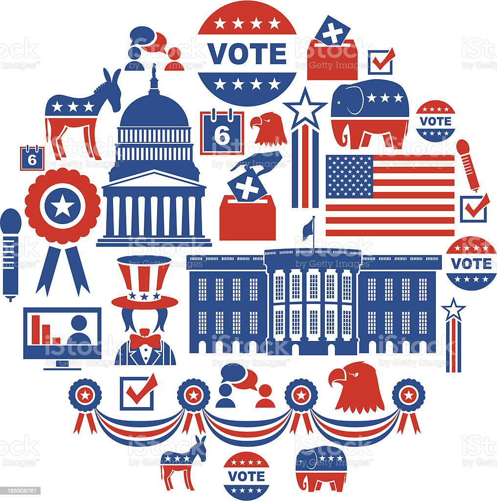 US Election Icon Set vector art illustration