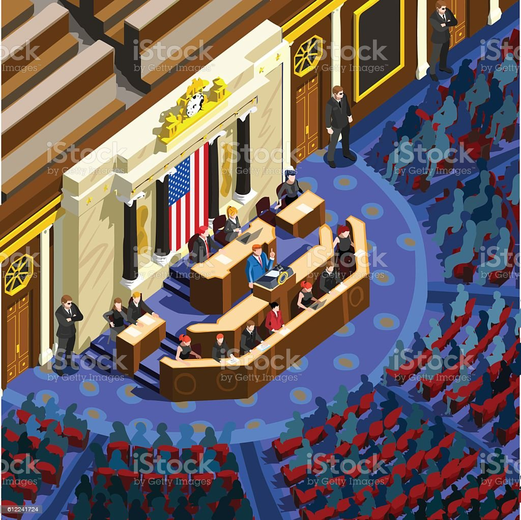 Election Infographic Parliament Hall Us Vector Isometric People vector art illustration