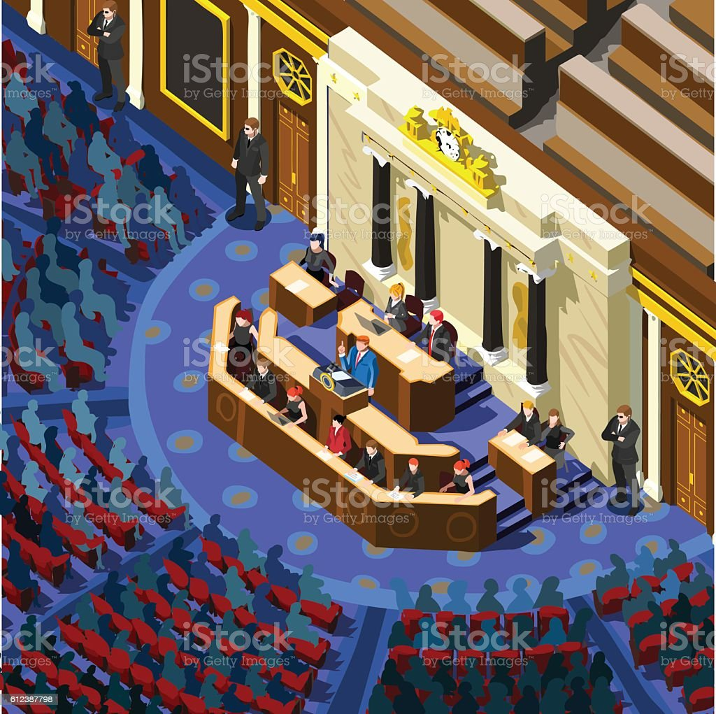 Election Infographic Parliament Hall Vector Isometric People vector art illustration