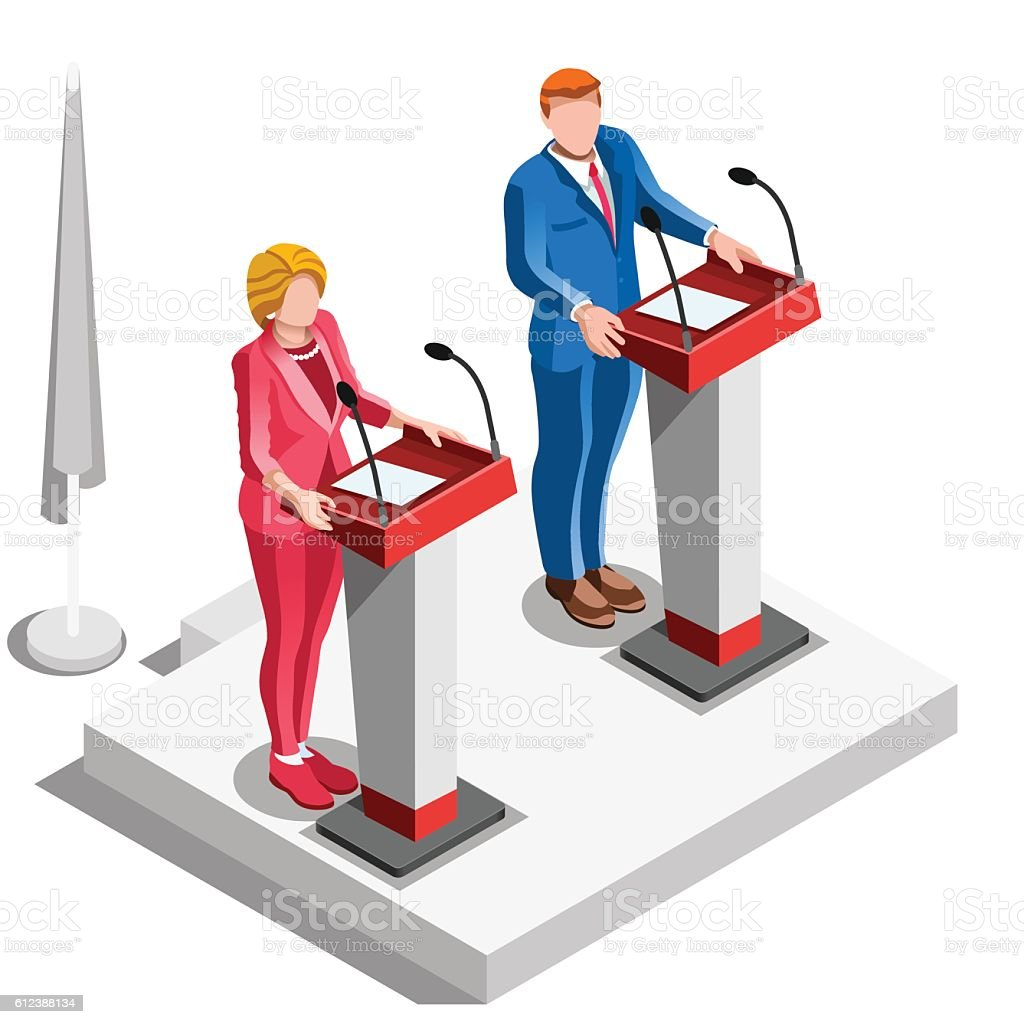 Election Infographic Politics Argue Vector Isometric People vector art illustration