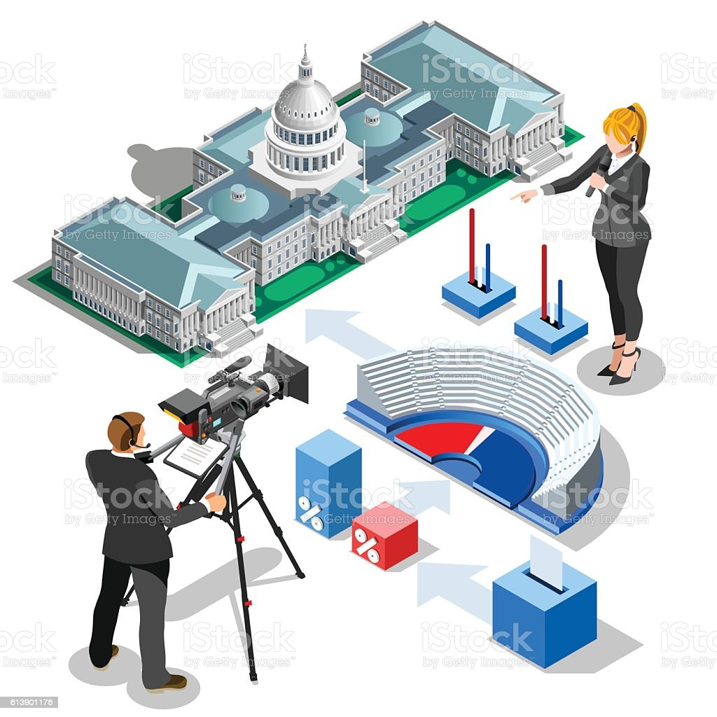 Election Infographic Us US Capitol Vector Isometric Building vector art illustration
