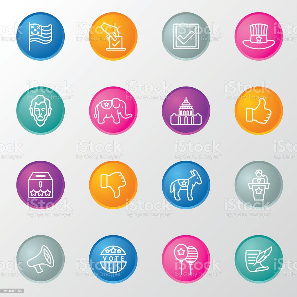 Election Line Circle Color Icons vector art illustration