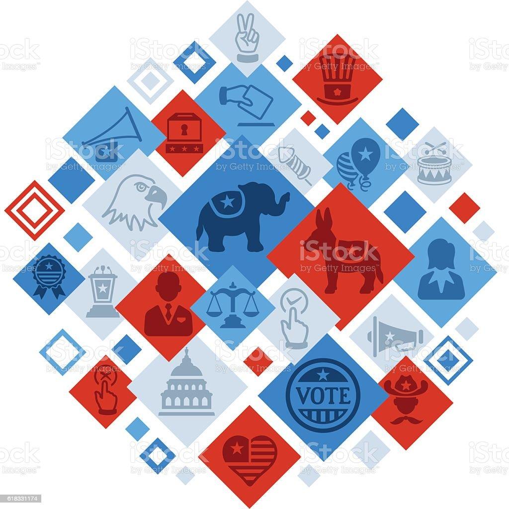 USA Election Montage vector art illustration