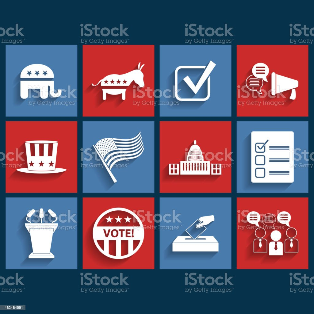 Election vector retro flat icons vector art illustration