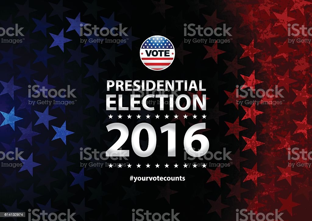 USA Election Vote Button and stars and stripes background vector art illustration