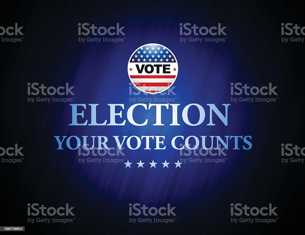 USA Election Vote Button with blue color background vector art illustration