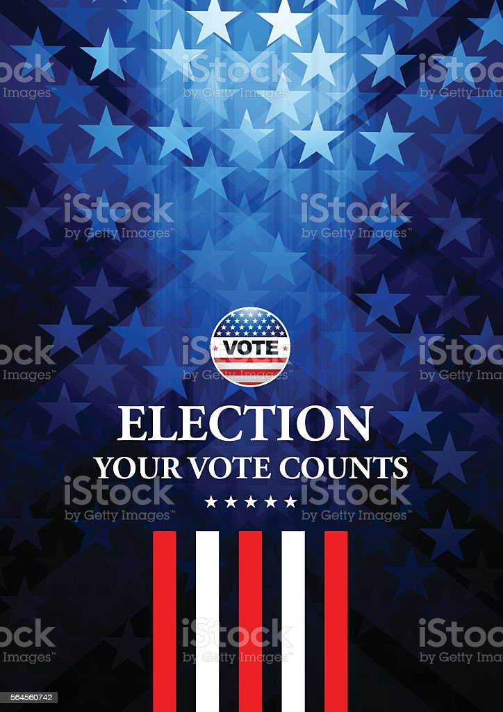 USA Election Vote Button with star shape background vector art illustration