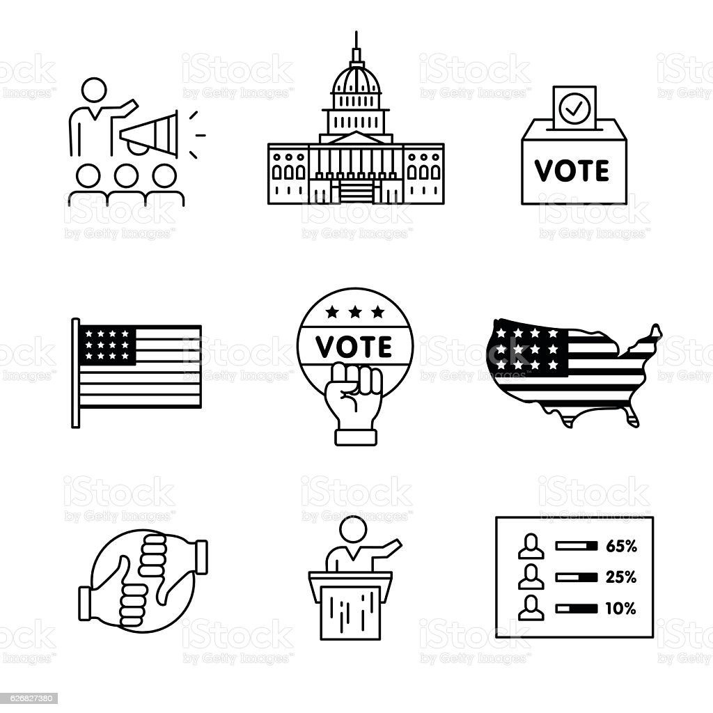 Elections, campaign and voting signs set vector art illustration