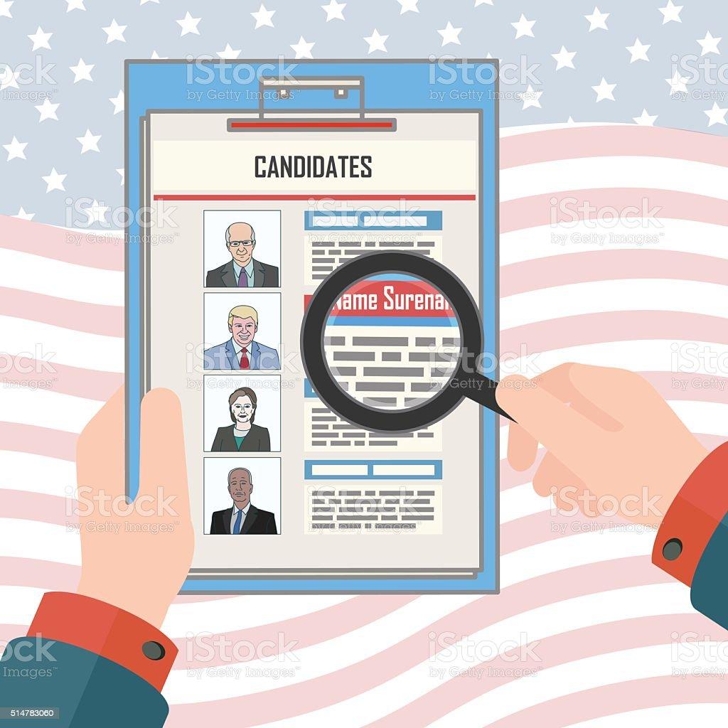 USA elections candidates vector art illustration