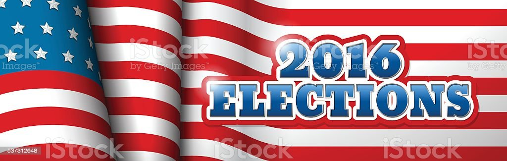 US Elections Horizontal Banner vector art illustration