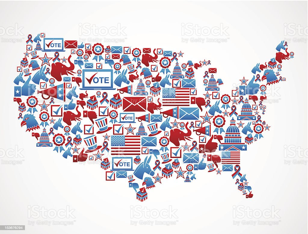 USA elections icon set in national map vector art illustration