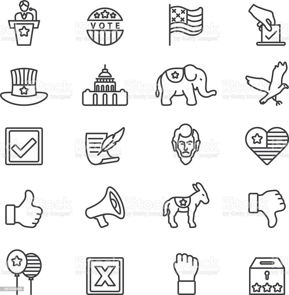 Elections Politics Government Democracy Line icons | EPS10 vector art illustration