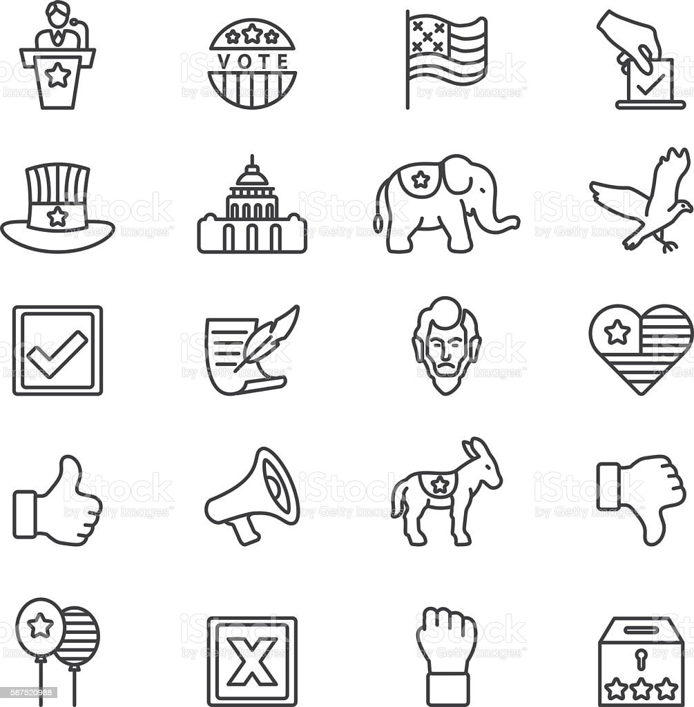 Elections Politics Government Democracy Line icons | EPS10 vector art illustration