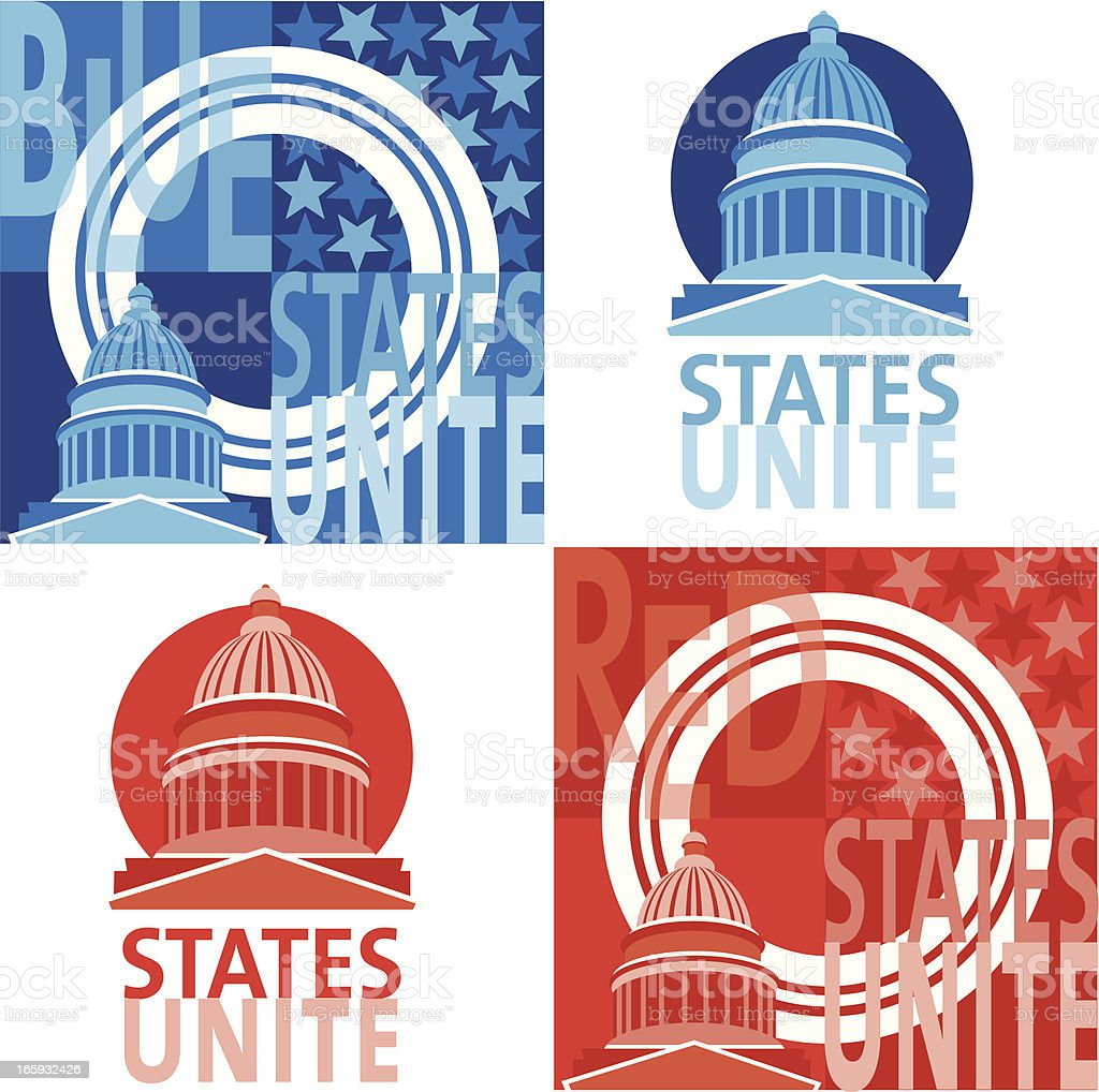 Electoral College - Red vs Blue States vector art illustration