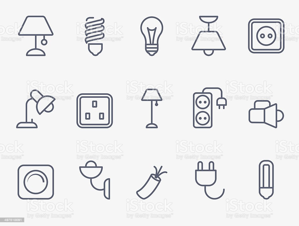 Electric accessories icons vector art illustration