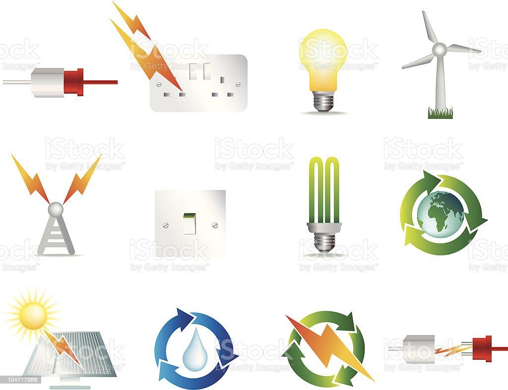 electric und Strom Symbole Lizenzfreies vektor illustration