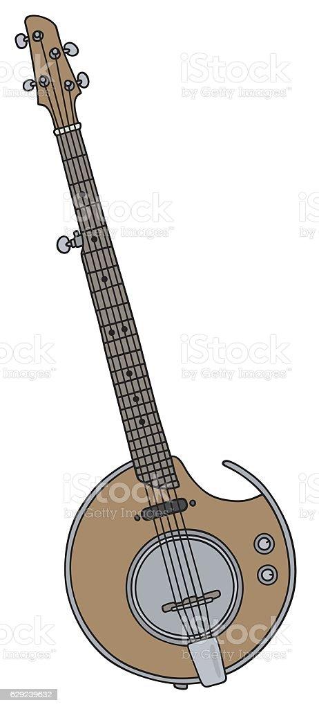 Electric banjo vector art illustration