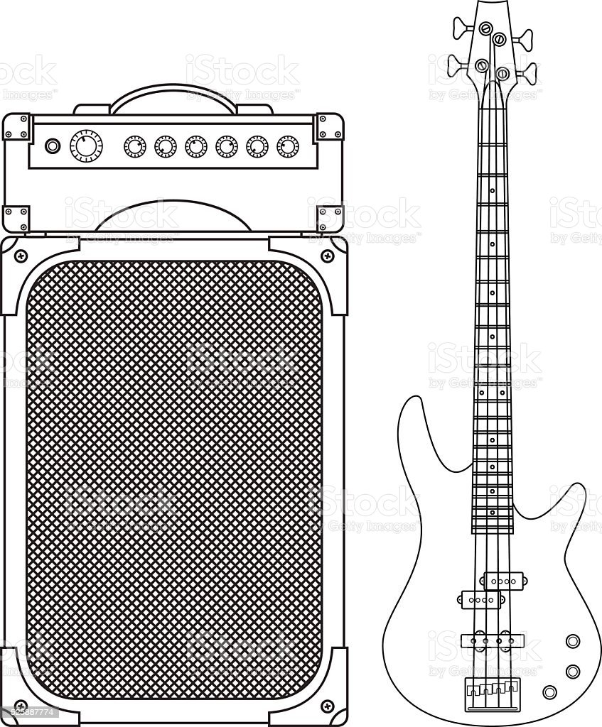 Electric Bass Guitar and Amplifier vector art illustration