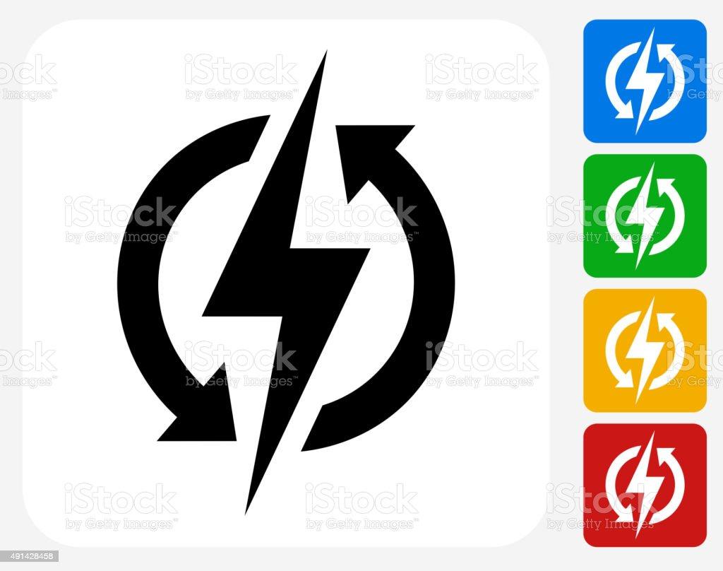 Electric Bolt Icon Flat Graphic Design vector art illustration