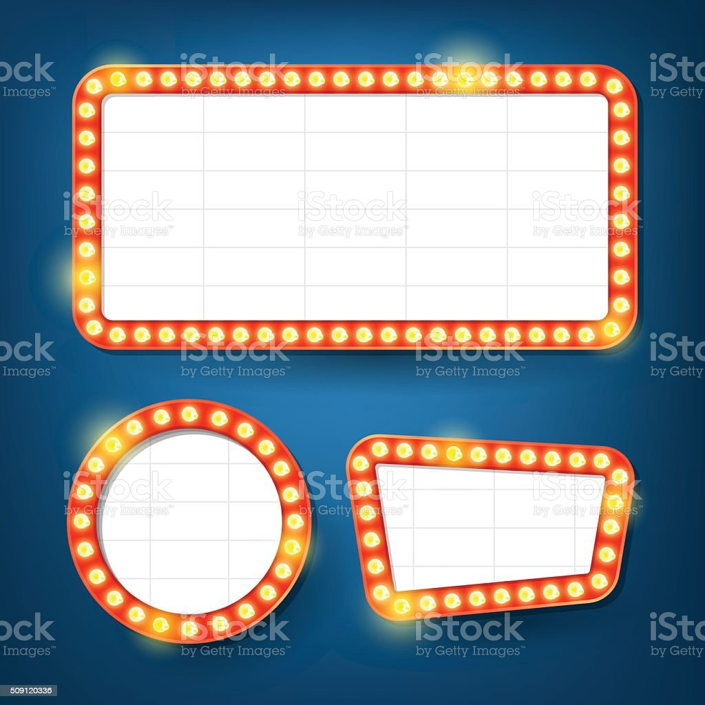 Electric bulbs billboard. Retro light frames. vector art illustration