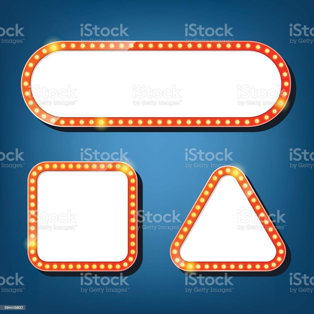 Electric bulbs billboard. square, triangle retro light frames. vector art illustration
