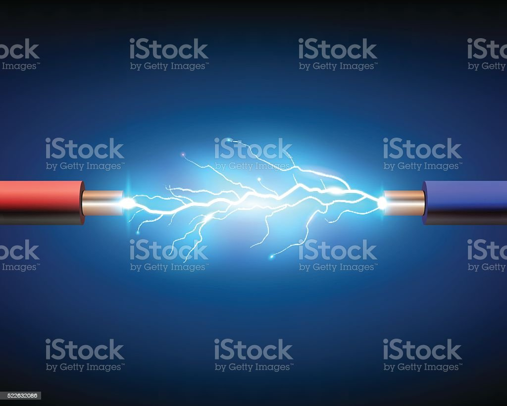 Electric cable with sparks vector art illustration