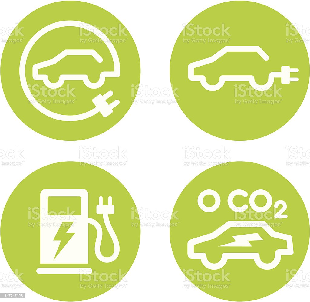 Electric car and charging point icons vector art illustration