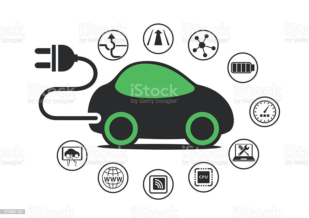 Electric car and electric vehicle concept as vector illustration vector art illustration