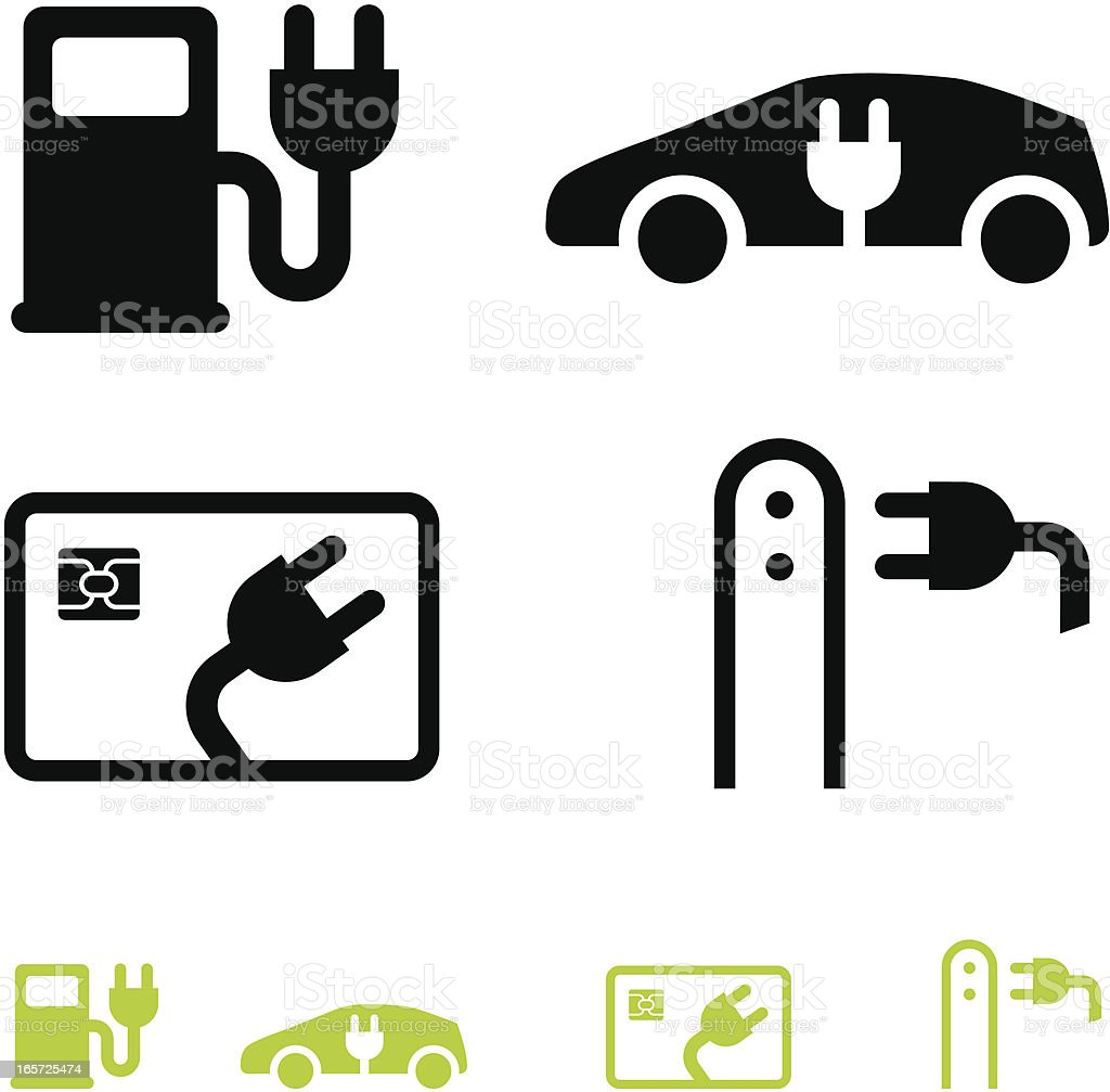 Electric car and fuel icons royalty-free stock vector art