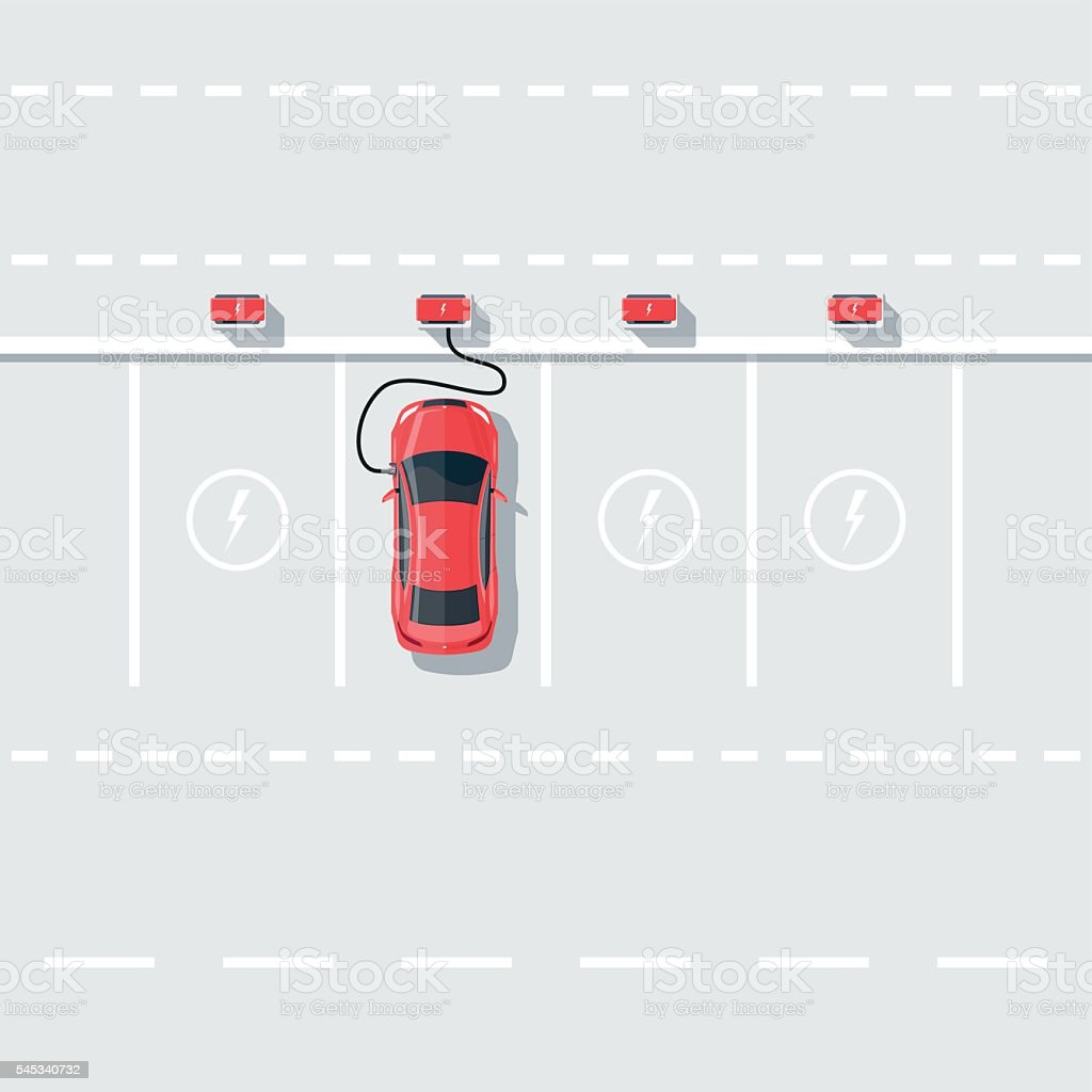 Electric Car Charging at the Charging Station on the Street vector art illustration