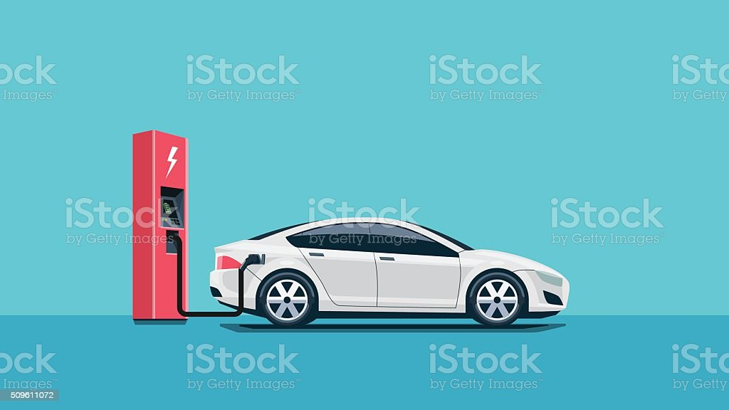 Electric Car Charging at the Charging Station vector art illustration