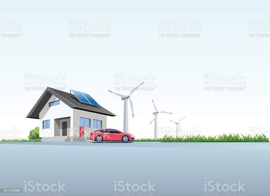Electric Car Charging at the Charging Wall Station at Home vector art illustration