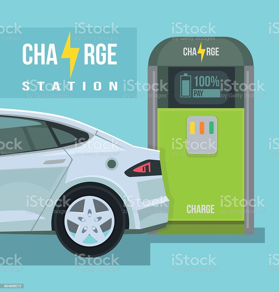 Electric car. Charging station. Vector flat cartoon illustration vector art illustration