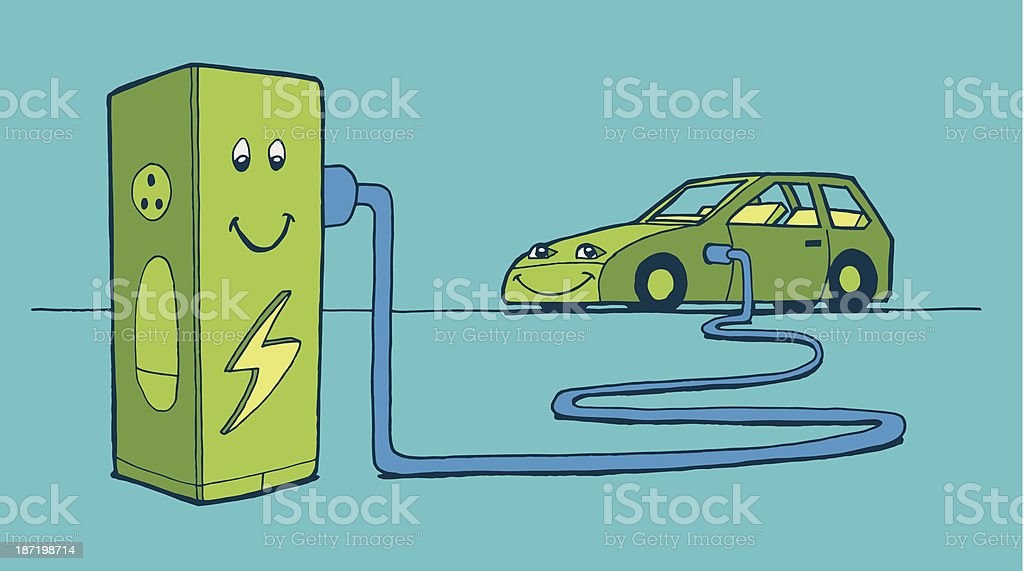 Carga de carro elétrico vetor e ilustração royalty-free royalty-free