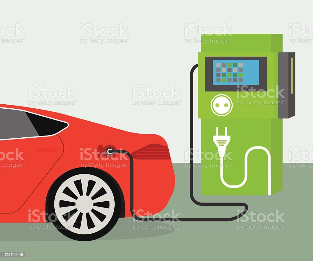Electric car charging vector art illustration