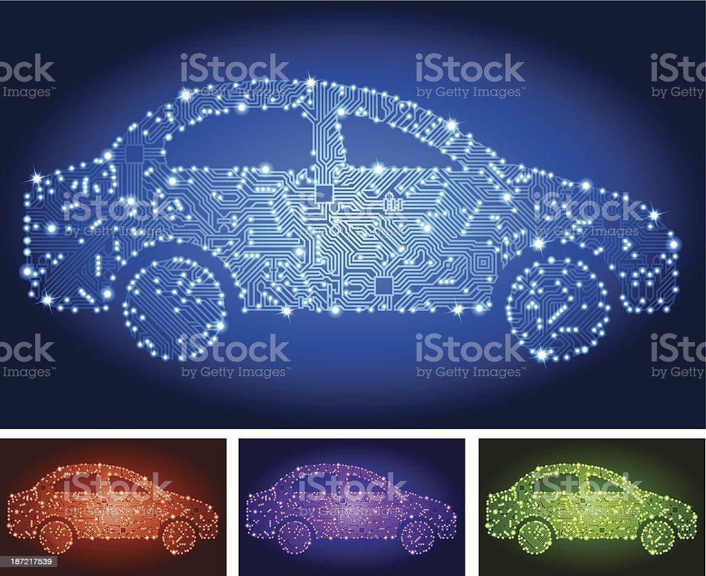 Electric Car Circuit Board Color Set royalty-free stock vector art
