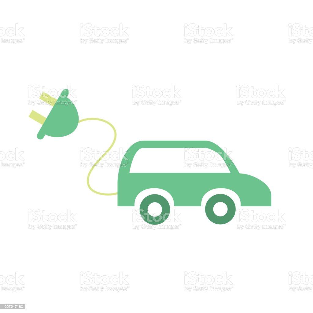 Electric car concept. Eco icon vector art illustration