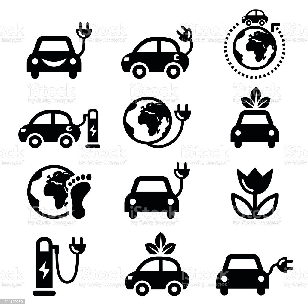 Electric car, green or eco transport icons set vector art illustration