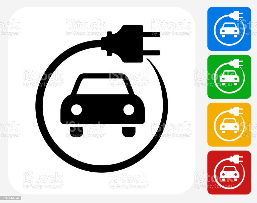 Electric Car Icon Flat Graphic Design vector art illustration