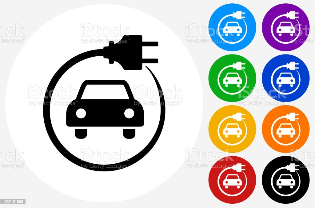 Electric Car Icon on Flat Color Circle Buttons vector art illustration