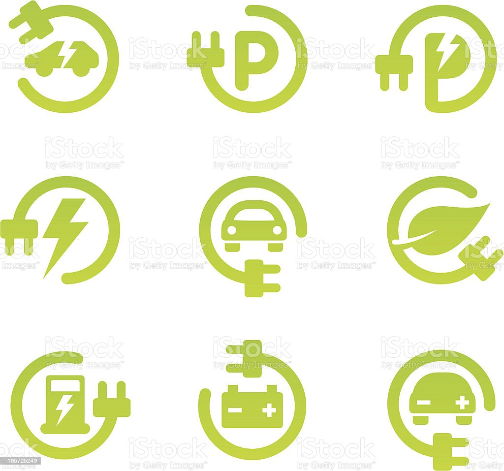 Electric car icon set vector art illustration