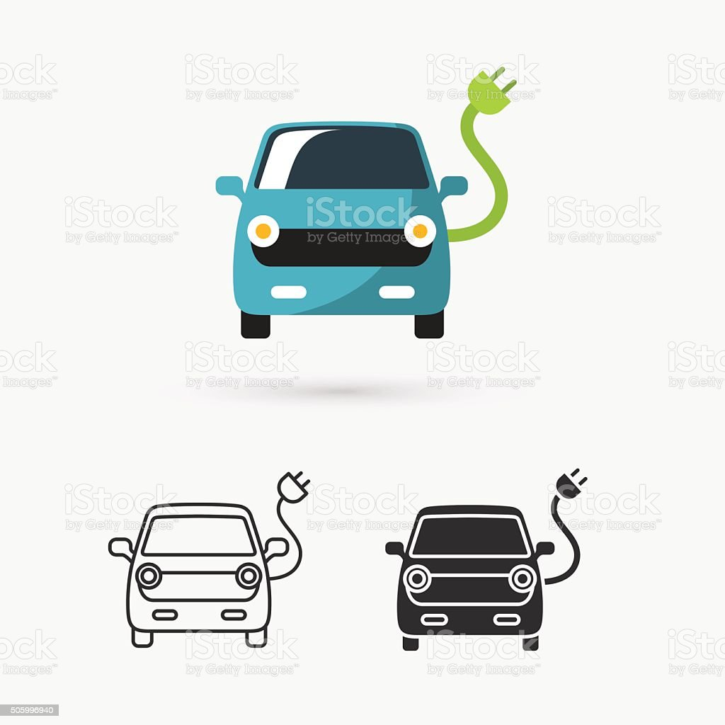 electric car icon vector art illustration