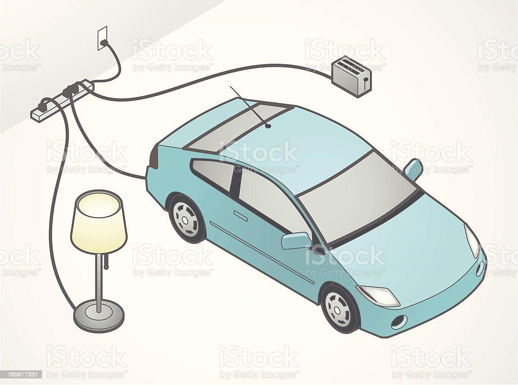 Electric Car Illustration vector art illustration