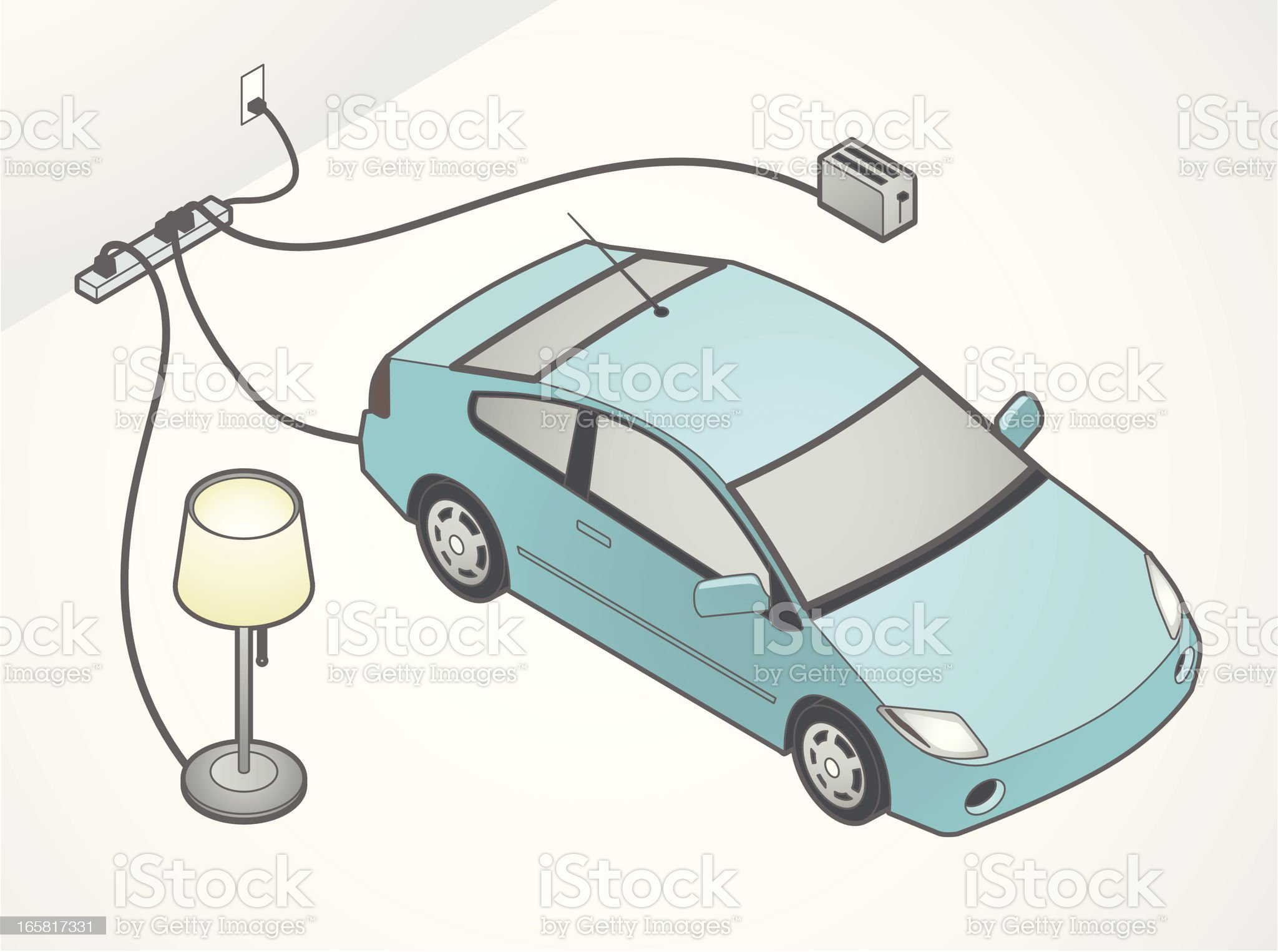 Electric Car Illustration royalty-free stock vector art