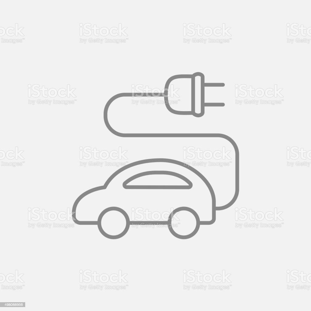 Electric car line icon vector art illustration